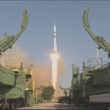 Lancement de Mini-EUSO depuis le cosmodrôme de Baïkonour à bord d'une fusée Soyouz Sources : POCKOCMOC